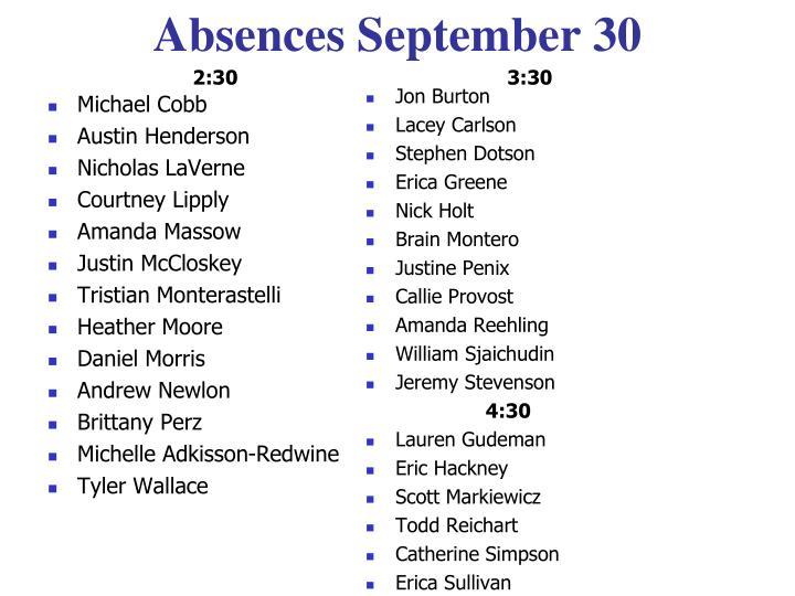 Absences September 30