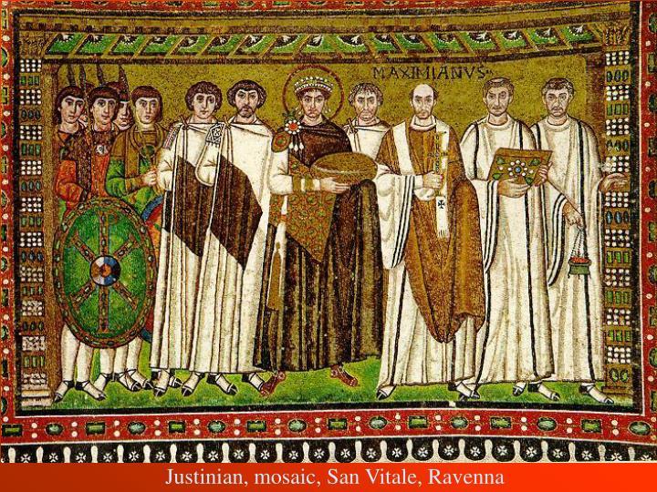 Justinian, mosaic, San Vitale, Ravenna