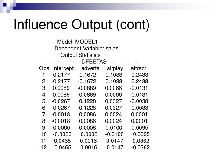 Influence Output (cont)