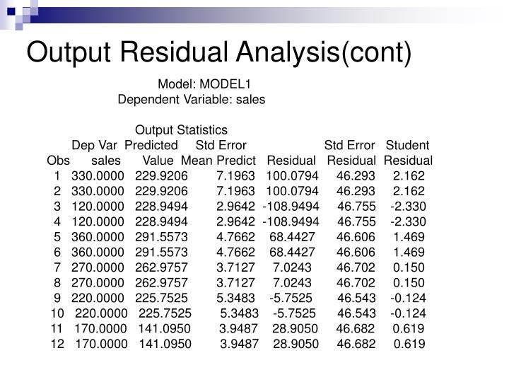 Output Residual Analysis(cont)