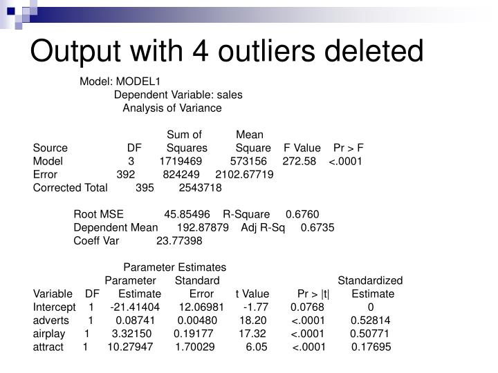 Output with 4 outliers deleted