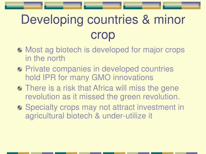 Developing countries & minor crop