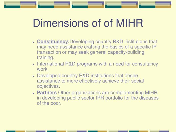 Dimensions of of MIHR