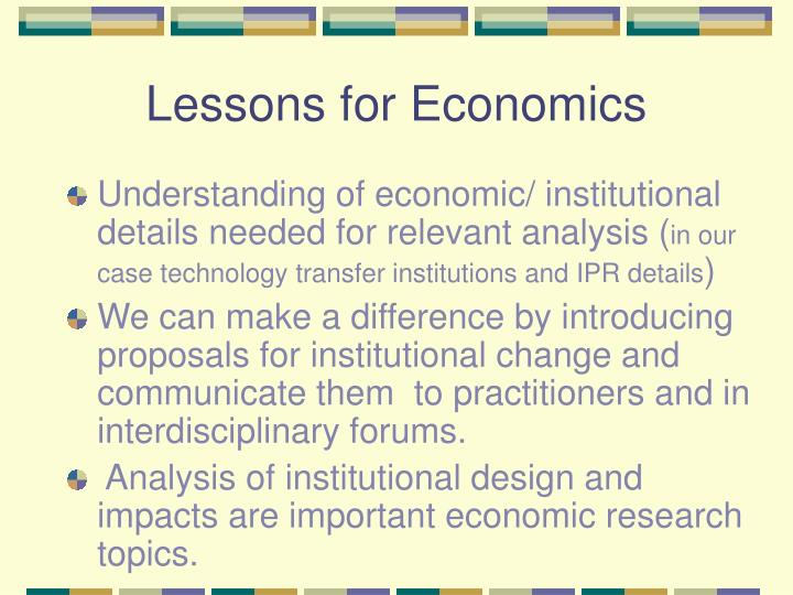 Lessons for Economics