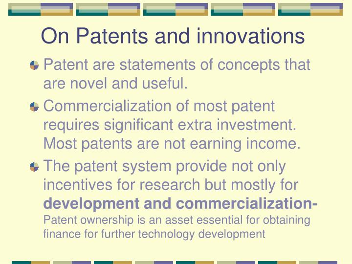 On Patents and innovations
