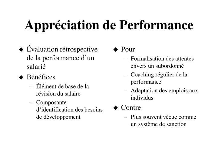 Évaluation rétrospective de la performance d'un salarié
