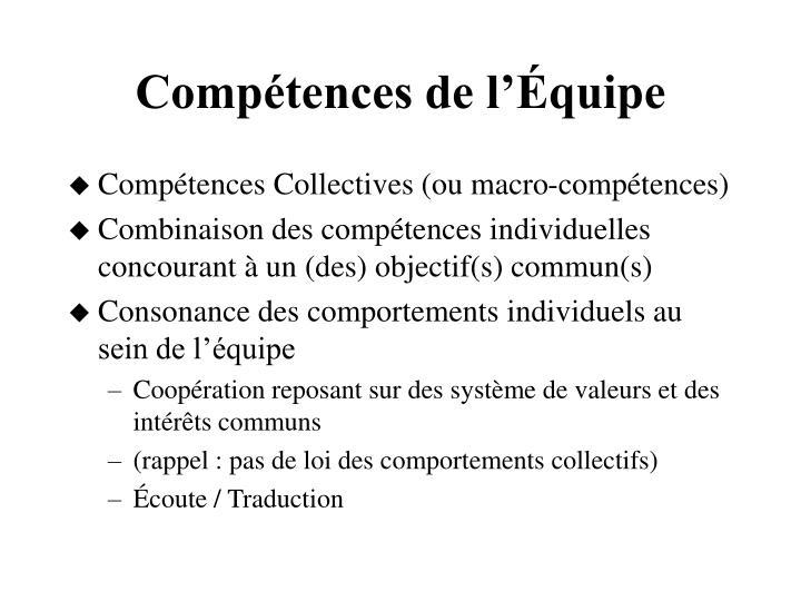 Compétences de l'Équipe