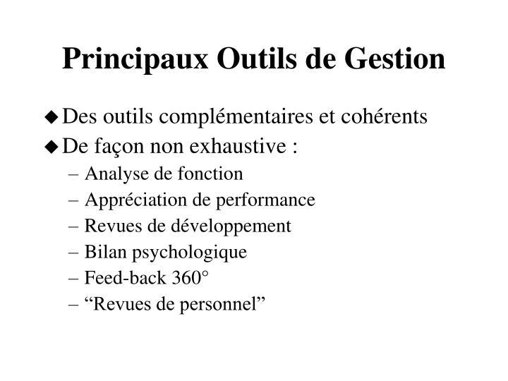Principaux Outils de Gestion