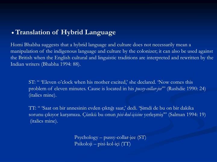 Translation of Hybrid Language