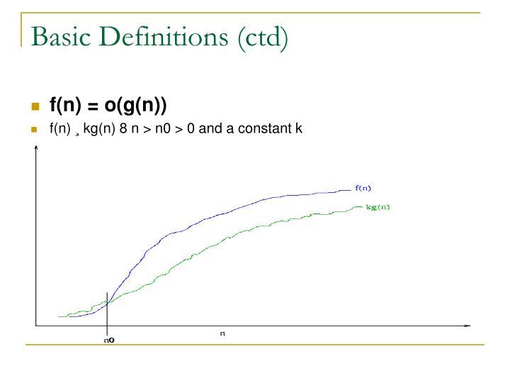 Basic Definitions (ctd)