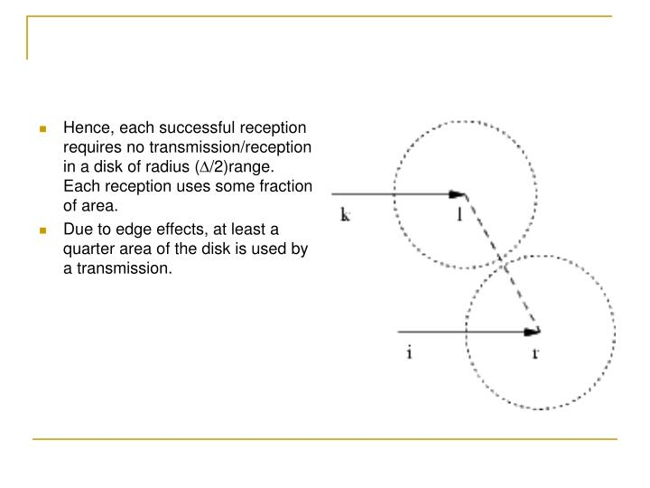 Hence, each successful reception requires no transmission/reception in a disk of radius (