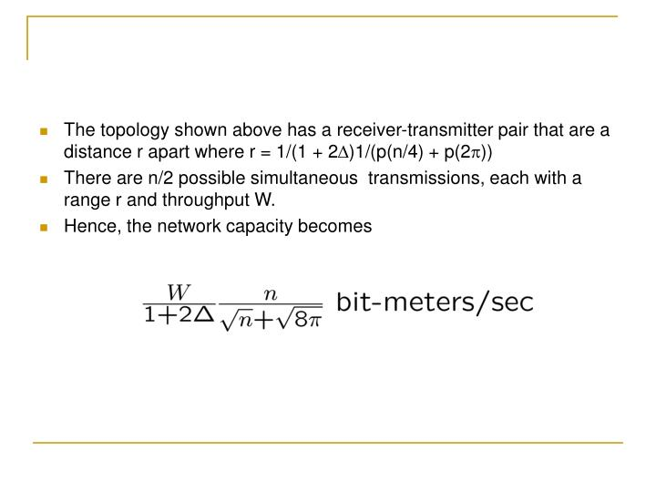 The topology shown above has a receiver-transmitter pair that are a distance r apart where r = 1/(1 + 2