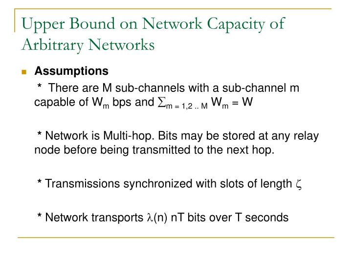 Upper Bound on Network Capacity of Arbitrary Networks