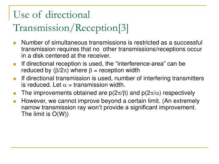 Use of directional Transmission/Reception[3]