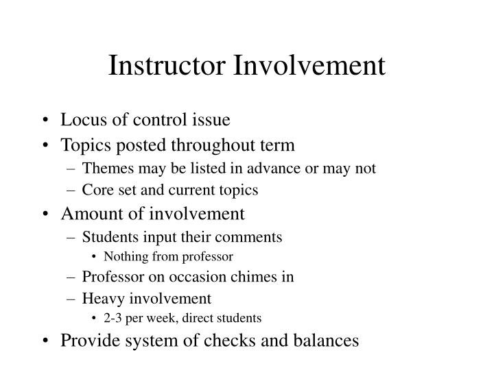 Instructor Involvement