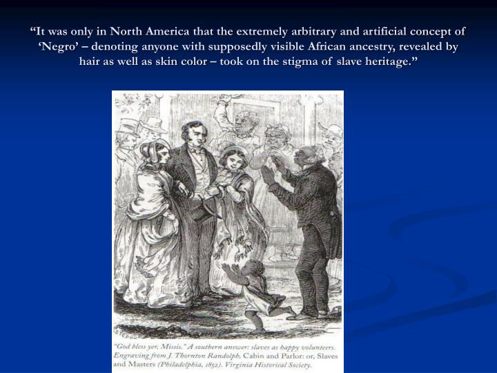 """""""It was only in North America that the extremely arbitrary and artificial concept of 'Negro' – denoting anyone with supposedly visible African ancestry, revealed by hair as well as skin color – took on the stigma of slave heritage."""""""