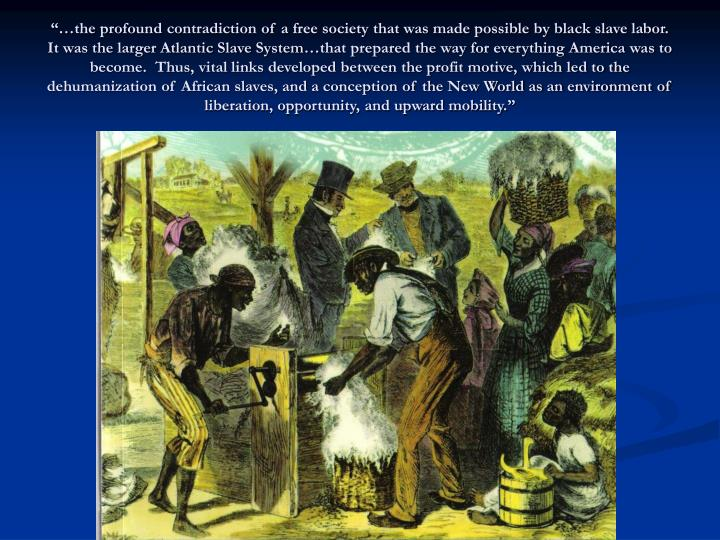 """""""…the profound contradiction of a free society that was made possible by black slave labor.  It was the larger Atlantic Slave System…that prepared the way for everything America was to become.  Thus, vital links developed between the profit motive, which led to the dehumanization of African slaves, and a conception of the New World as an environment of liberation, opportunity, and upward mobility."""""""