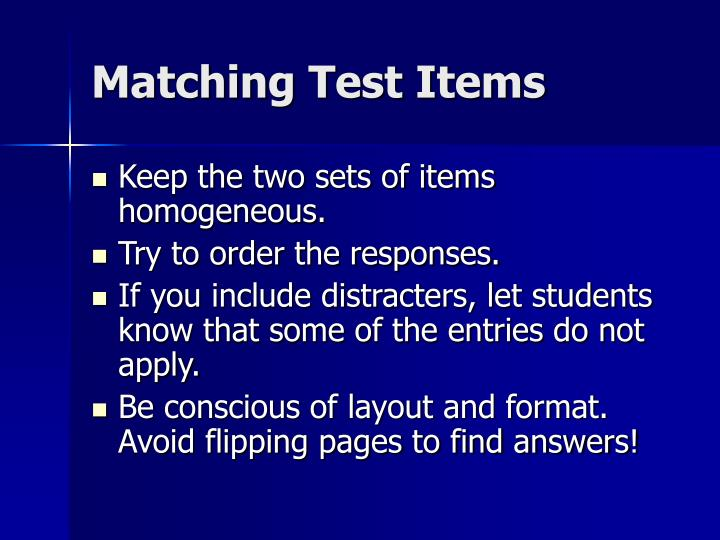 Matching Test Items