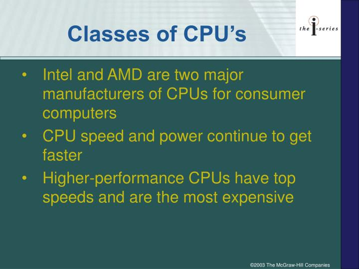 Classes of CPU's