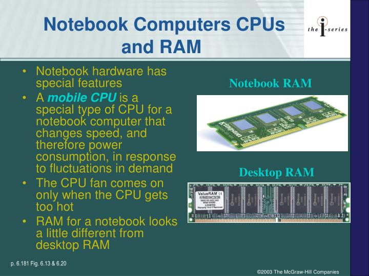 Notebook Computers CPUs and RAM