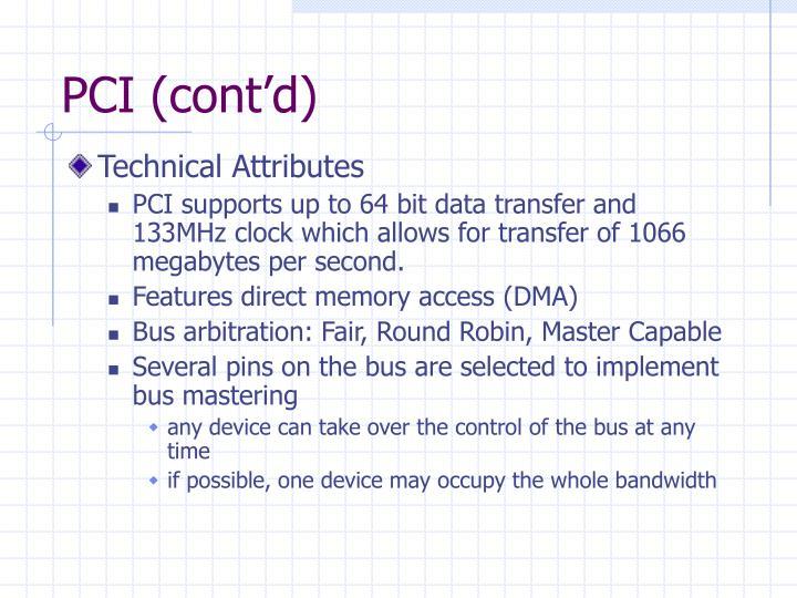 PCI (cont'd)