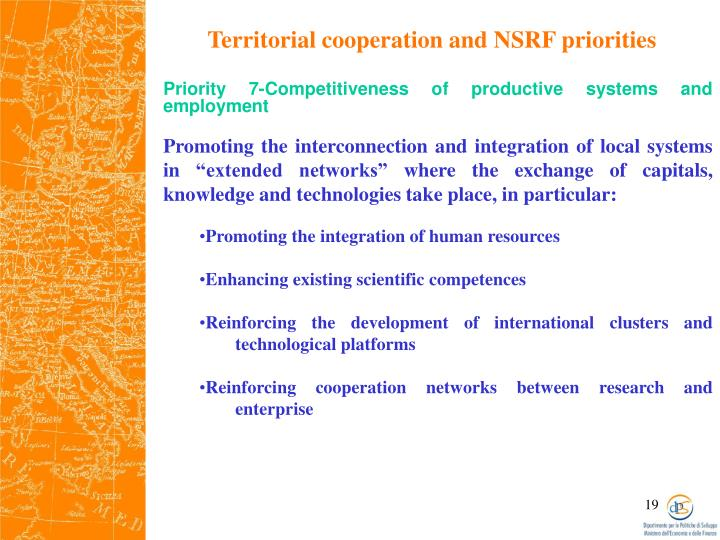 Territorial cooperation and NSRF priorities