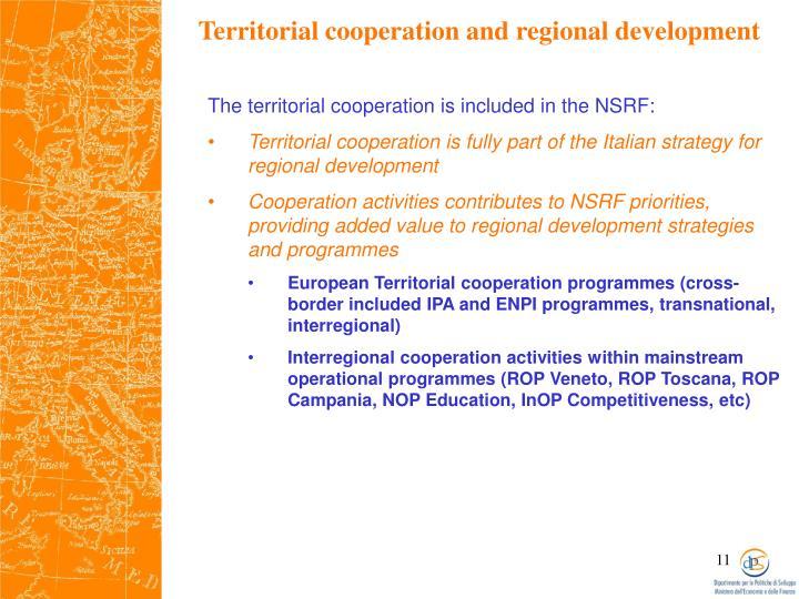 Territorial cooperation and regional development