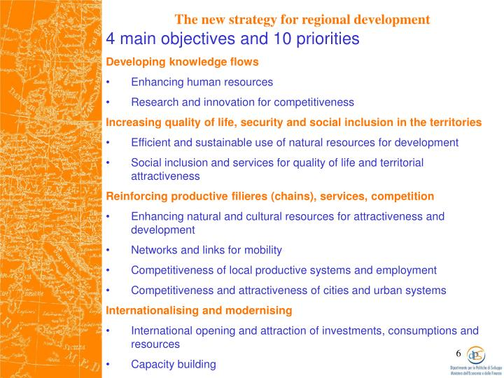 4 main objectives and 10 priorities