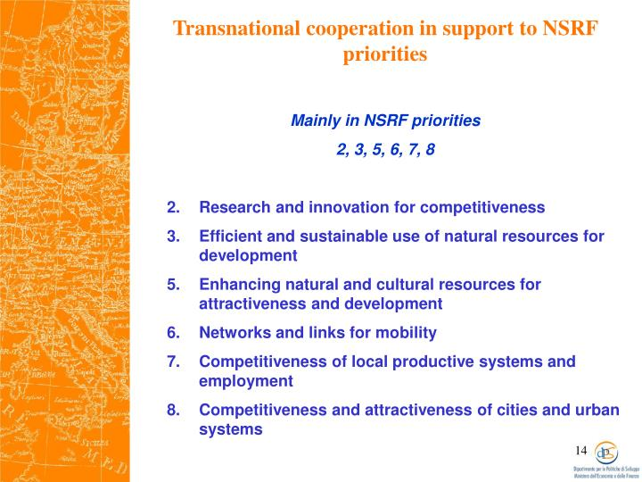 Transnational cooperation in support to NSRF priorities