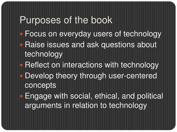 Purposes of the book