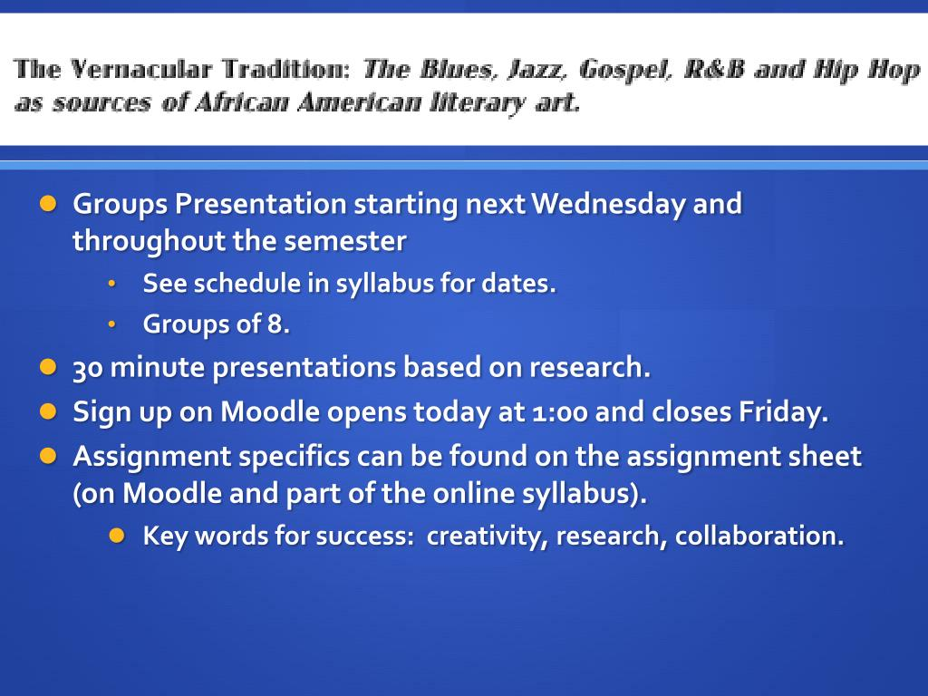Groups Presentation starting next Wednesday and throughout the semester