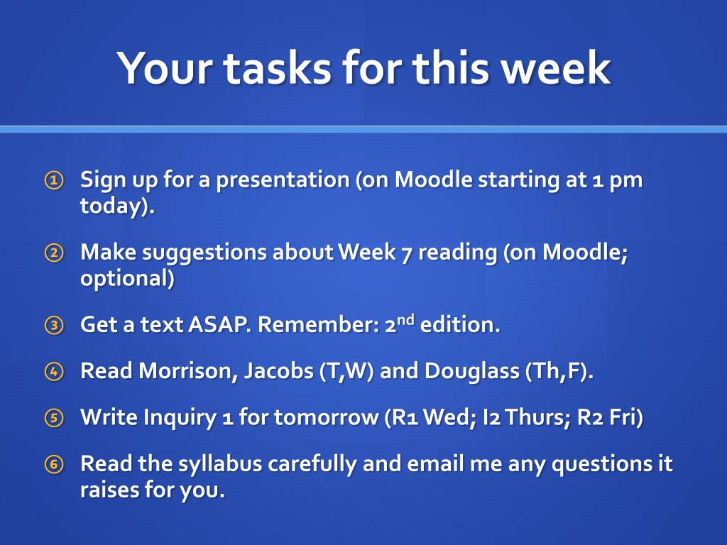 Your tasks for this week