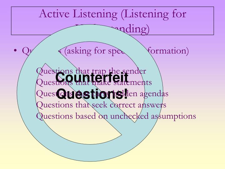 Counterfeit Questions!