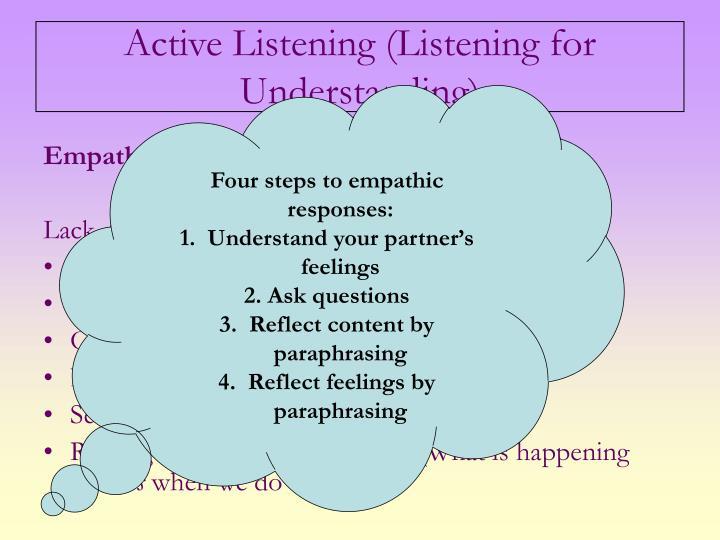 Four steps to empathic responses: