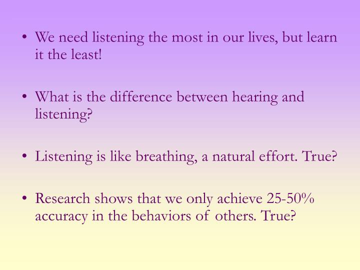 We need listening the most in our lives, but learn it the least!
