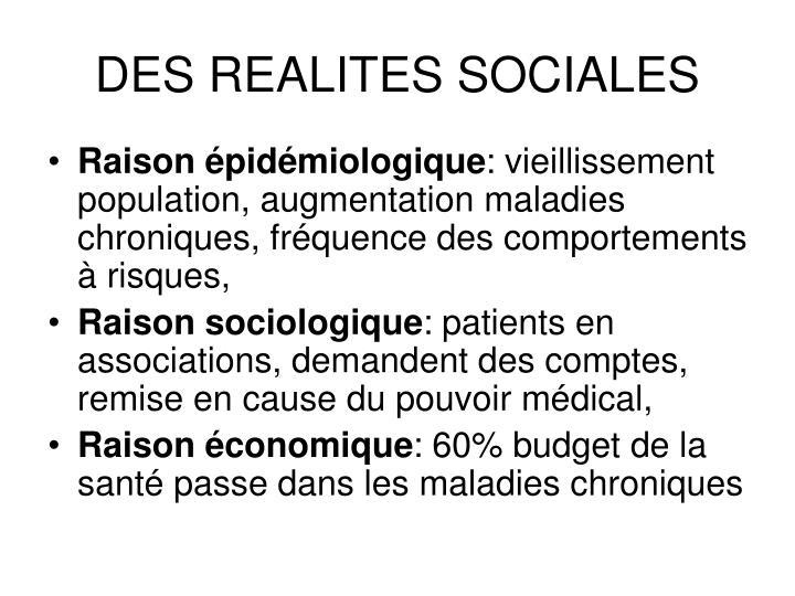 DES REALITES SOCIALES