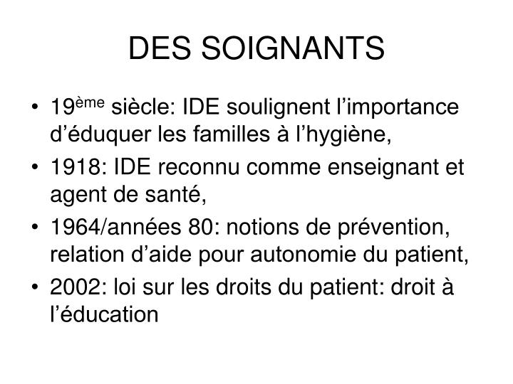DES SOIGNANTS
