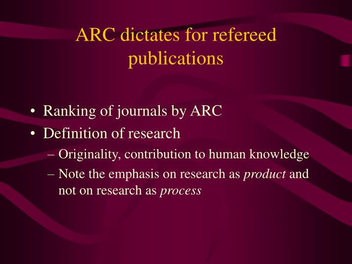 ARC dictates for refereed publications