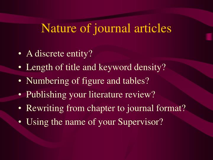 Nature of journal articles