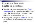 existence of pure nash equilibrium definitions