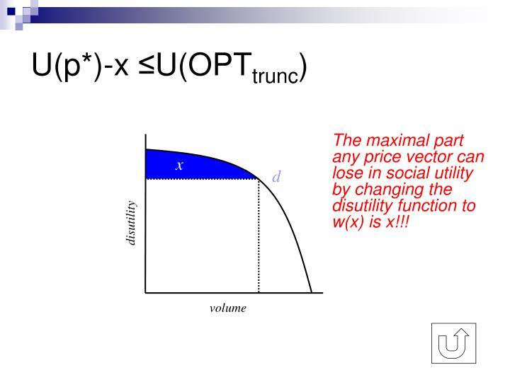 U(p*)-x ≤U(OPT