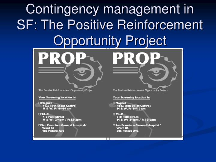Contingency management in SF: The Positive Reinforcement Opportunity Project