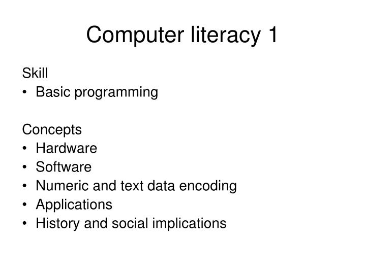 Computer literacy 1