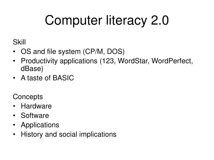 Computer literacy 2.0