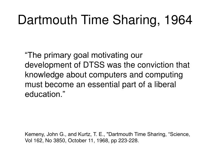 Dartmouth Time Sharing, 1964