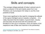 skills and concepts