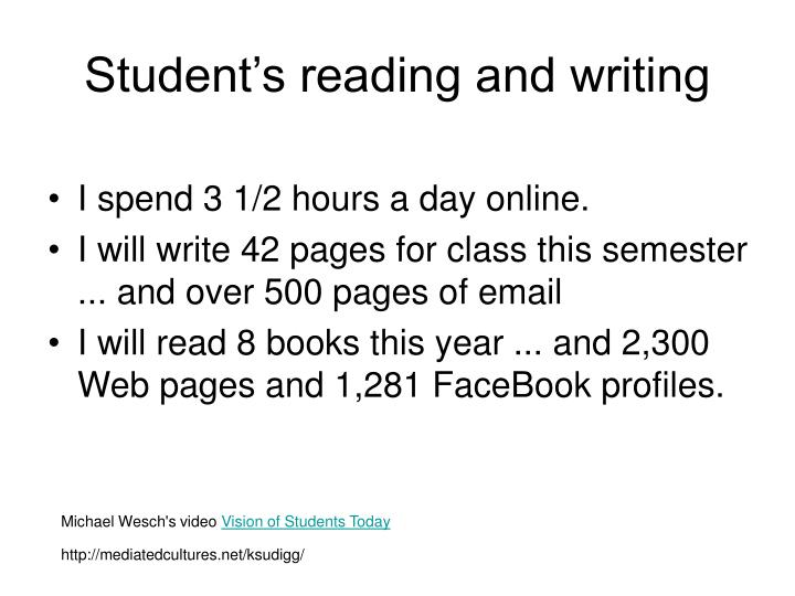 Student's reading and writing