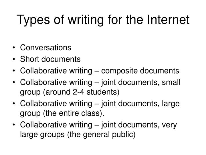 Types of writing for the Internet