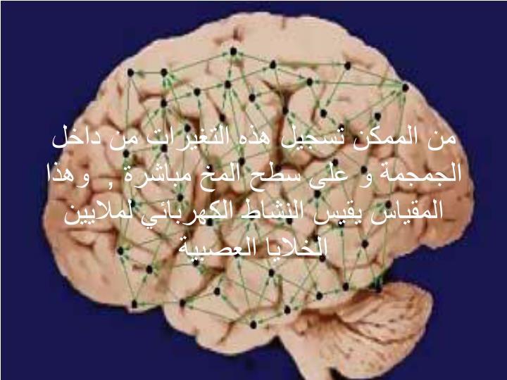 من الممكن تسجيل هذه التغيرات من داخل الجمجمة و على سطح المخ مباشرة ,  وهذا المقياس يقيس النشاط الكهربائي لملايين الخلايا العصبية