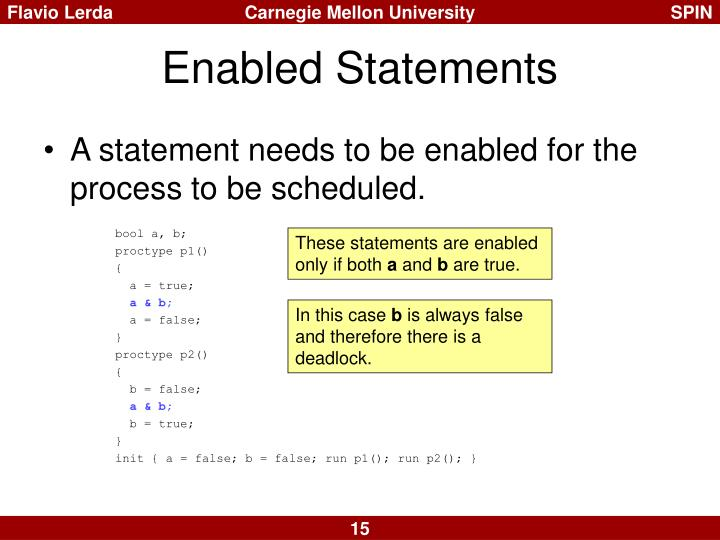 Enabled Statements